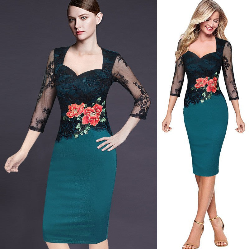 Embroidery Lace Flower Work wear Office Dress for Women V-Neck Three Quarter Sleeve Dress - Sins & Temptations