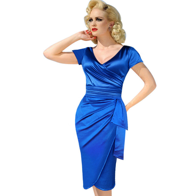 V Neck Summer Casual Dress Business Party Formal Bodycon Pencil Dress - Sins & Temptations