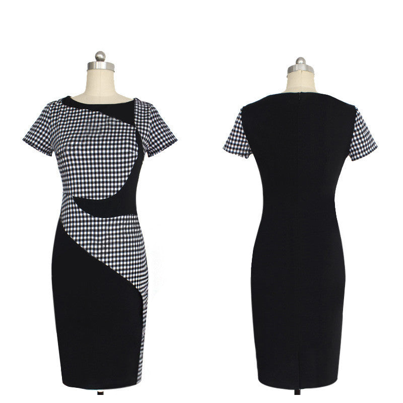 Knee Length Dress Plaid Formal Work Business Party Sheath Pencil Dress - Sins & Temptations