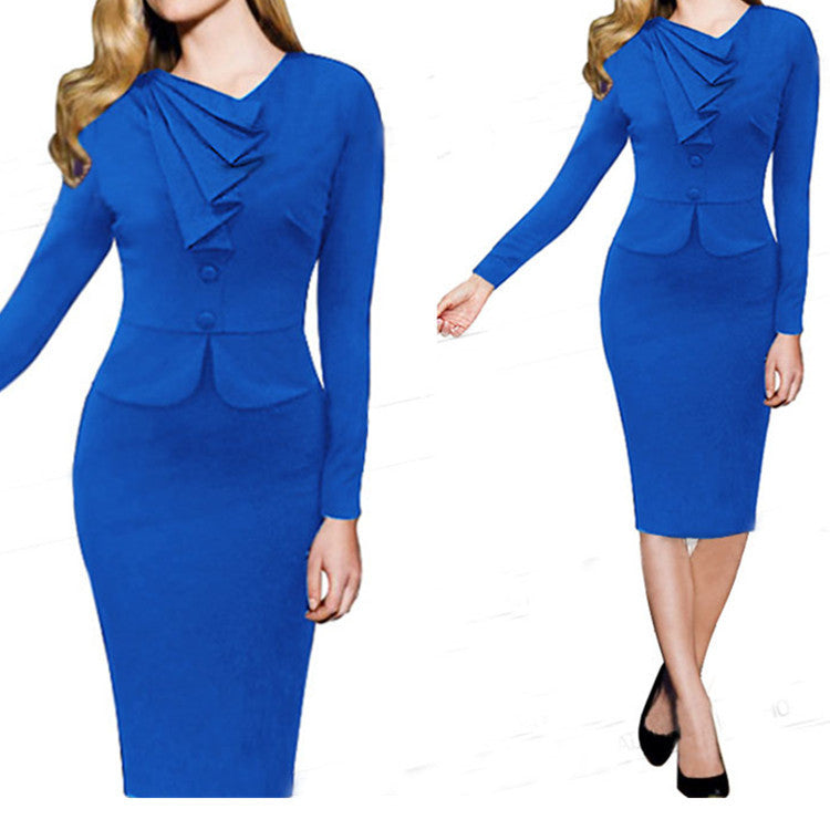 Women Work Wear Dress for Office Draped Knee Length Pencil Dress - Sins & Temptations