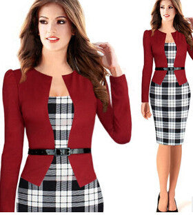 Plaid Dress Elegant Belted Tartan Lace Patchwork Tunic Work Wear - Sins & Temptations