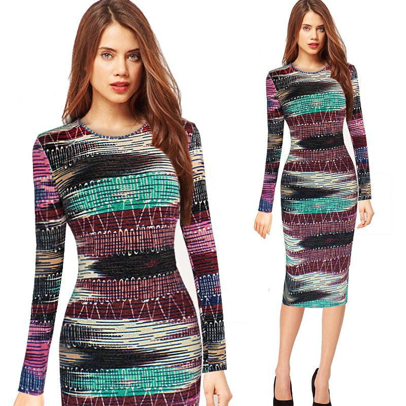Retro Spring Dress Round Neck Long Sleeve Printed Pencil Dresses Office Work Plaid vestido - Sins & Temptations