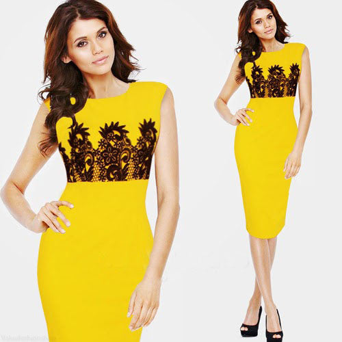 Pencil Formal Dress Work Wear Business Party Lace Knee Length Shealth Bodycon Dress - Sins & Temptations