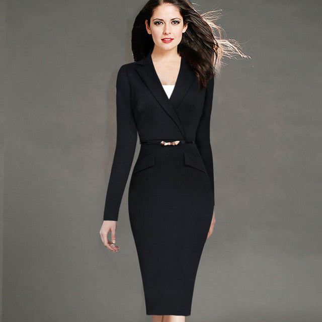 Causal Work Wear Dress with Belt Lapel Faux Wrapped V Neck Business Office Sheath Dress - Sins & Temptations