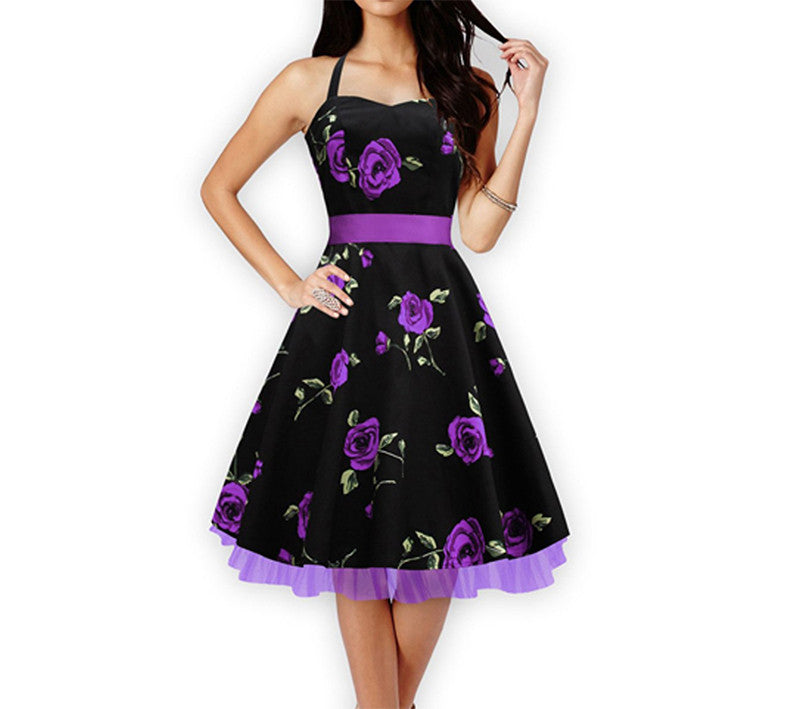 Floral Print Party Dress Print Dress Cotton Sleeveless Dress - Sins & Temptations