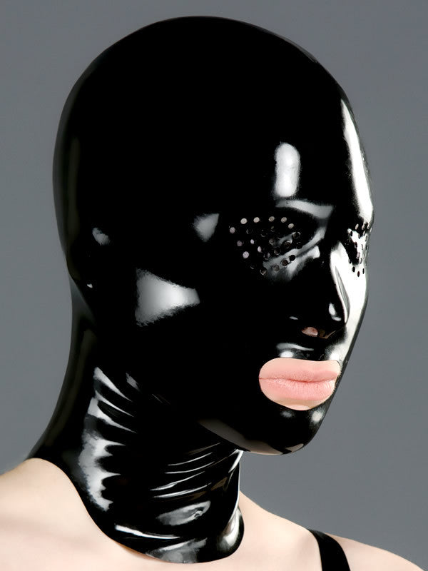Latex Fetish Mask Rubber Hood Mask-Open Mouth and Pinhole Eyes - Sins & Temptations