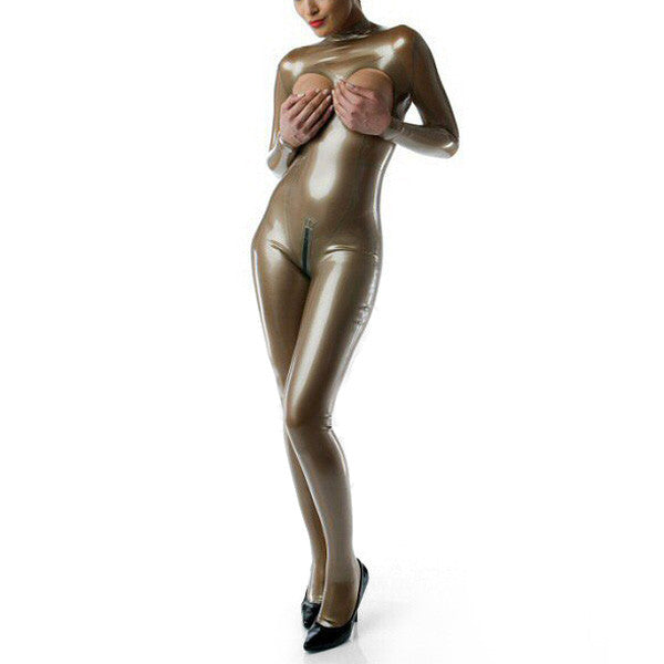 Hot Sale Pure Latex Catsuit Zentai Cover Suit Latex With Open Cups & Latex Socks - Sins & Temptations