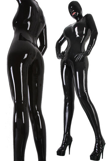 Women's Pure Latex Rubber Overall Bodysuit Fetish Latex Catsuit With Crotch Condom - Sins & Temptations