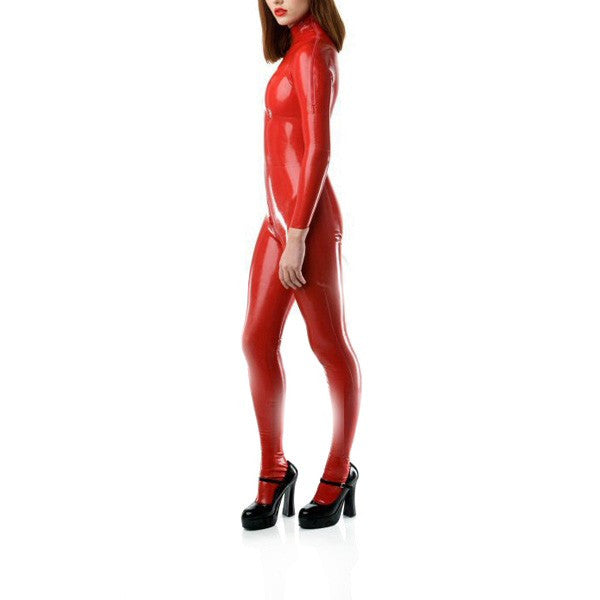 0.8mm Thickness Pure Latex Catsuit Socks Shoulder Zipped Latex Bodysuit With Crotch Zip - Sins & Temptations