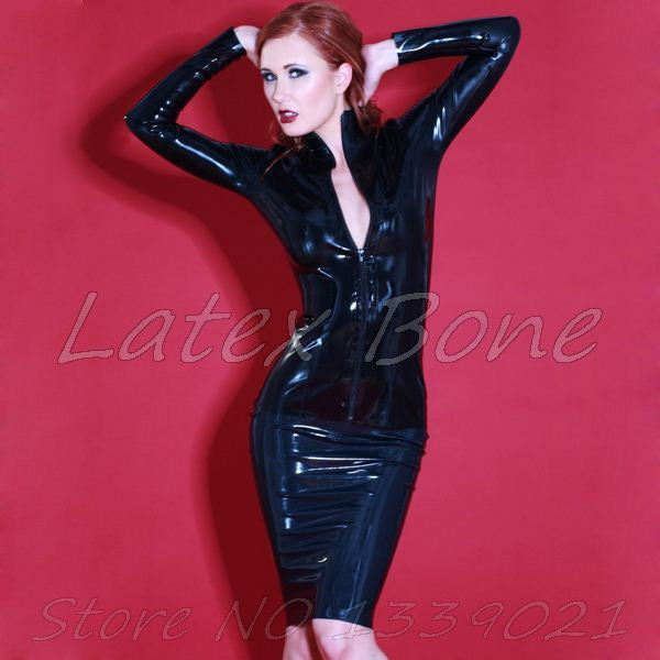 Black Pure Latex classical shirt front zip jacket latex garments for women - Sins & Temptations