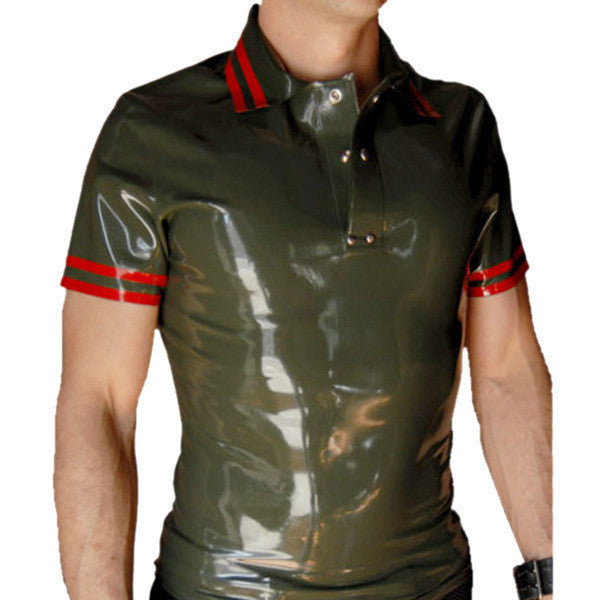 Pure Latex Sexy Costume rubber polo shirt latex t shirt for men - Sins & Temptations