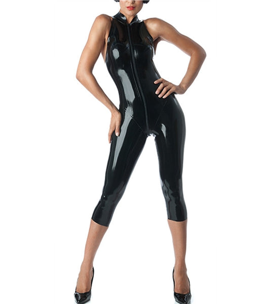 Handmade Pure Latex Catsuit Sexy Fetish Latex Rubber Sleeveless Capri Catsuits - Sins & Temptations