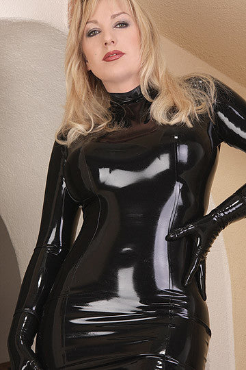 Unicolor Long Sleeves Leather Pure Latex Rubber Catsuit one Piece long Dress Bodysuit - Sins & Temptations