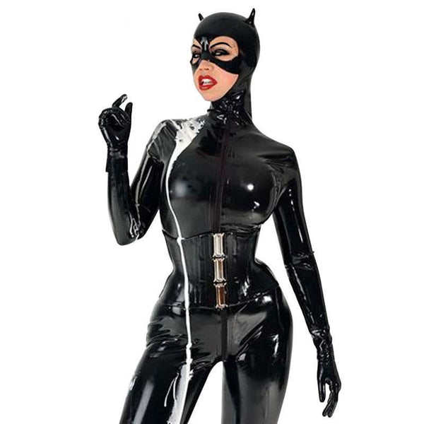 Pure Latex Catsuit for Cat Women Fetish Rubber Front Zipper Costume  w/o Corset ClubWear - Sins & Temptations