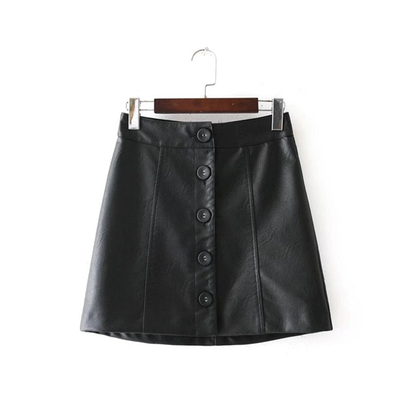 New Arrival Faux Leather Skirt Button Women PU Skirt Polyester Lining Sexy A-Line Skirt - Sins & Temptations