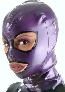 Catwomen Purple Metallic Rubber Latex Fetish Hood Latex Sexy Mask With Trim Around Back Zipped - Sins & Temptations