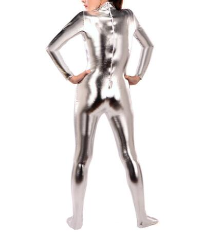 Silver Shiny Metallic Zentai Catsuit Hot Sell Sexy Tight Second Skin Suit - Sins & Temptations