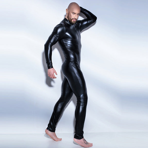 Black Wetlook Men's Fullbody Zentai Catsuit Leotard Zipper Costume