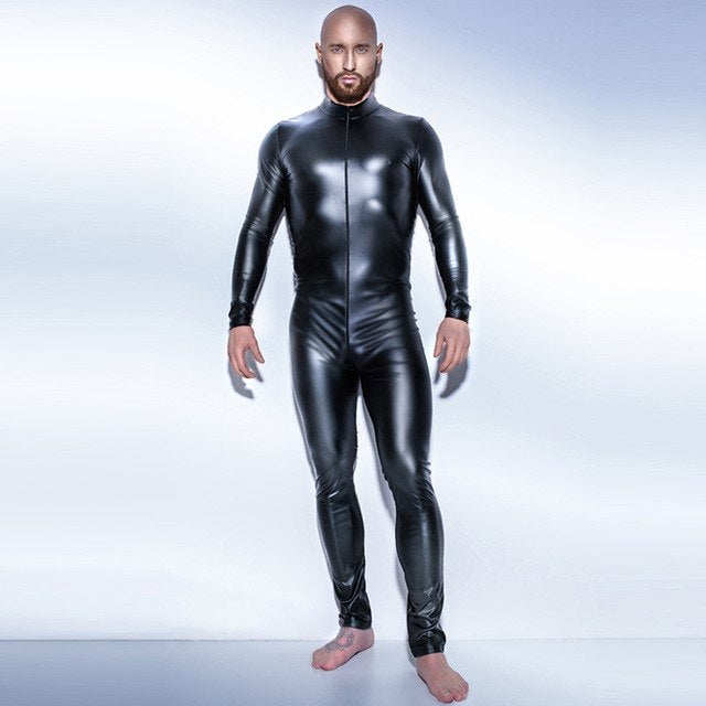 Black Wetlook Men's Fullbody Zentai Catsuit Leotard Zipper Costume - Sins & Temptations