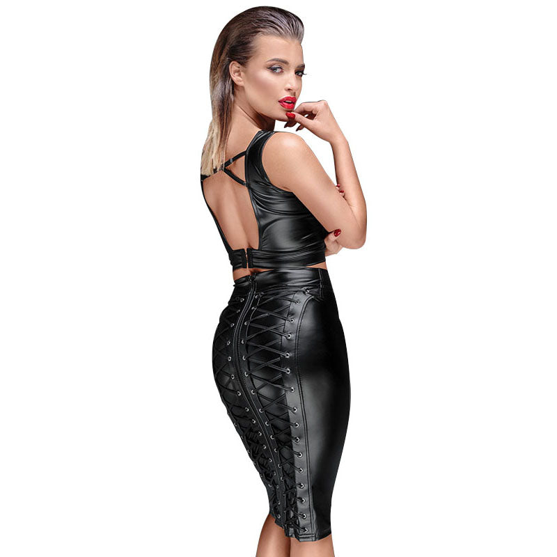 Gothic Wet look Black Faux Leather Skirt Back Zipper Lace Up Wrap Pencil Skirt Bodycon - Sins & Temptations