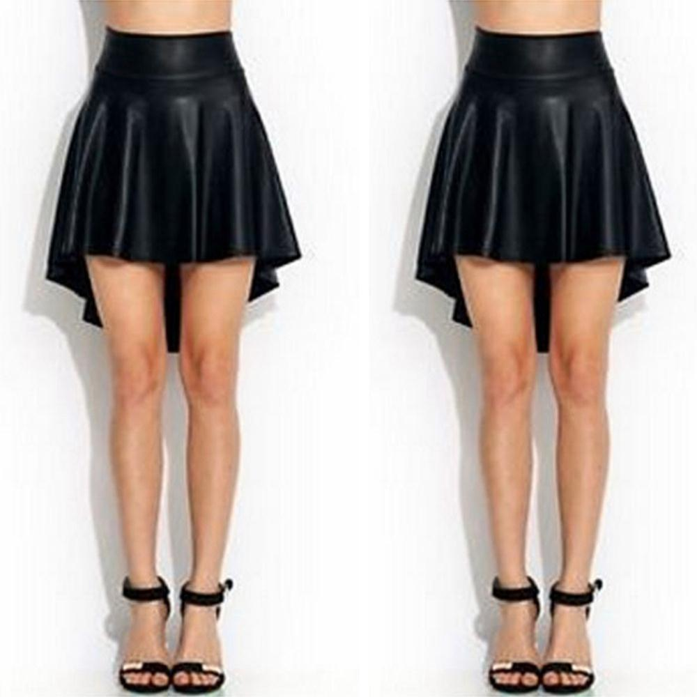 Fashion Sexy Black Lady Girls Faux Leather Mini Skirt High Waist Irregular Solid Skirt - Sins & Temptations
