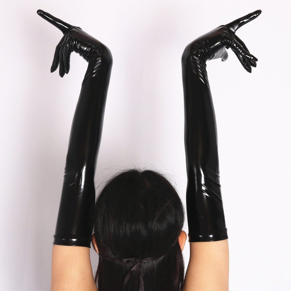Faux Leather PVC Shiny Long Latex Glove Mittens Club Wear Costume Accessory - Sins & Temptations