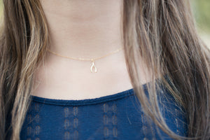tiny gold wishbone necklace lucky luck