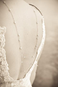 BRIDAL BACK NECKLACE BACKLACE PEARL OPEN BACK NECKLACE