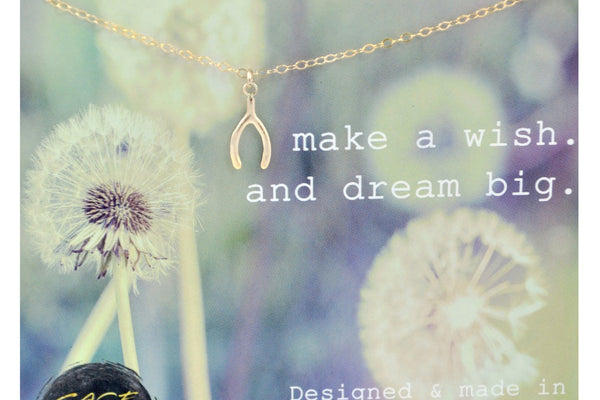 14K Gold Wishbone Necklace, Make A Wish And Dream Big, Wishbone Charm, Gold Filled, Graduation Gift, Good Luck Present, Tiny Karma, Birthday