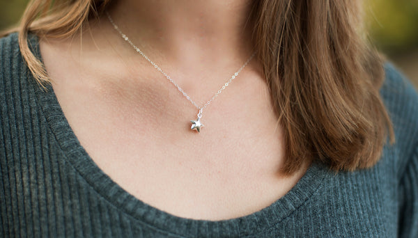 LOVE YOU MORE, Star Necklace - Sterling Silver-Sela+Sage