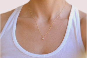 Small Bezel CZ Necklace - 14K Gold Filled-Sela+Sage