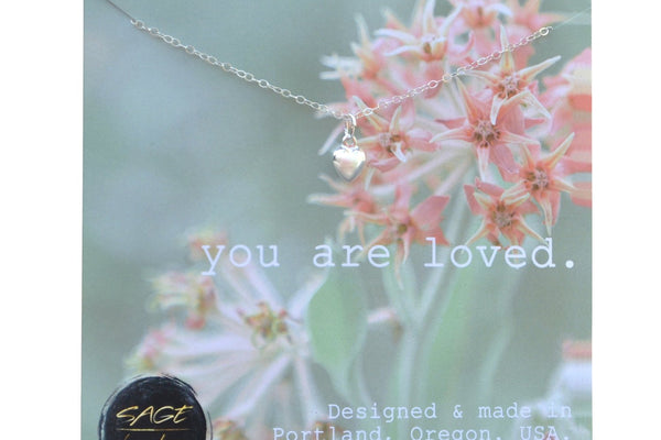 You Are Loved Necklace, Tiny Heart Necklace, Sterling Silver Heart Charm Pendant, Graduation Gift, Birthday Present, Mothers Day Gift, Mom