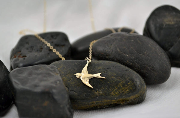 YOUR WINGS EXIST Flying Sparrow Bird Necklace - 14K Gold Filled-Sela+Sage