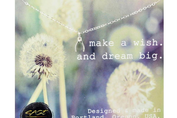 Sterling Silver Wishbone Necklace, Make A Wish & Dream Big - Sterling Silver-Sela+Sage
