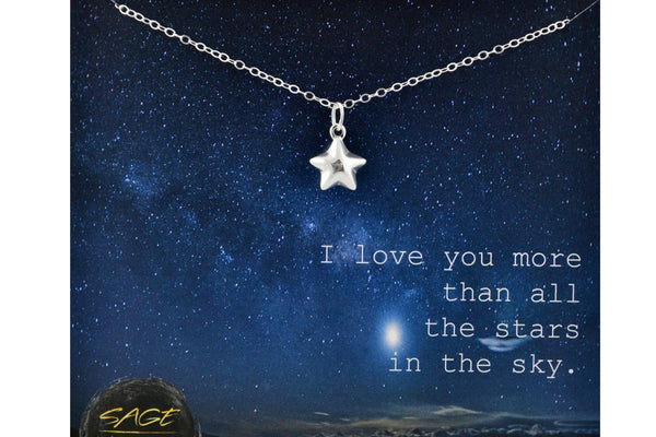 Sterling Silver Star Necklace Love You More Jewelry Love You to the Moon and Back Necklace Star Choker Love Gift Love You Jewelry Love Charm
