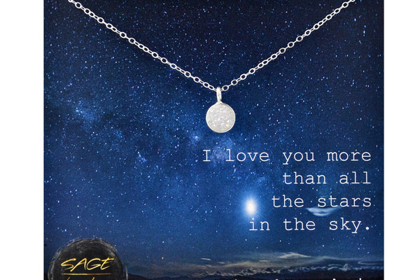 Sterling Silver Druzy Necklace, Love You More Jewelry, Love You to the Moon and Back Necklace, Druzy Pendant, Love Gift Love You Jewelry