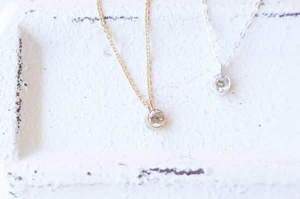 Tiny CZ Diamond Bezel Necklace - 14K Gold or Sterling Silver-Sela+Sage