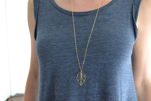 Gold Leaf, Long Necklace - 14K Gold Filled-Sela+Sage