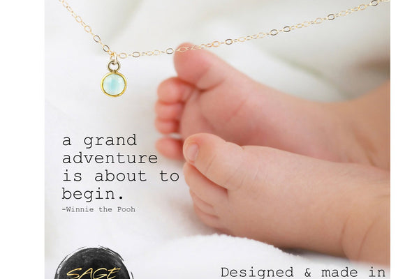 Gold Mothers Necklace, Baby Shower Gift Boy Baby Shower Present - 14K Gold Filled-Sela+Sage