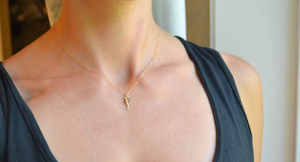 Tiny Italian Horn Necklace - 14K Gold Filled-Sela+Sage