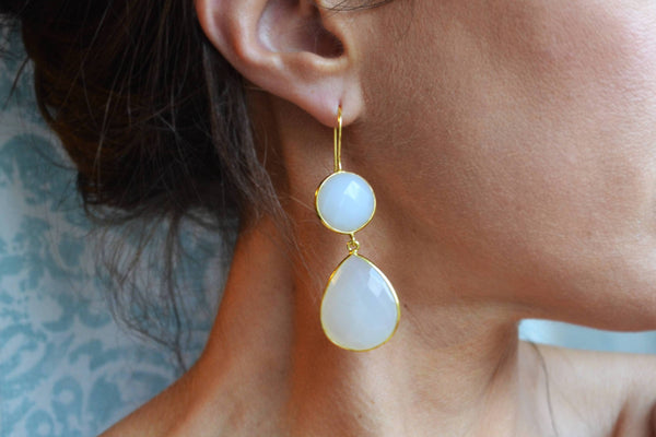 Translucent White Onyx Earrings, Large Teardrop Earring, Long Gold Dangle Earring Natural Stone Earring White Bridesmaid Gift, White Jewelry