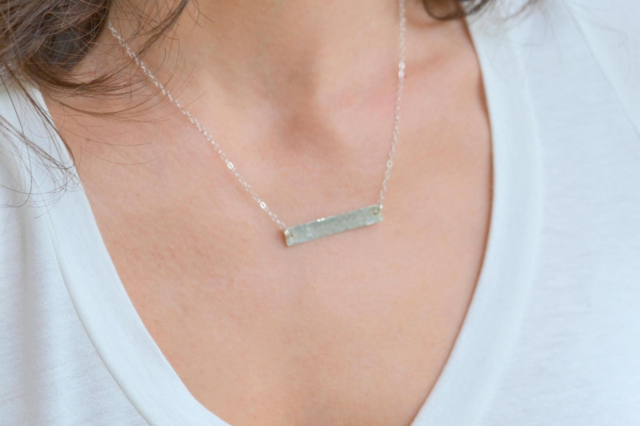 Personalized Initial Bar Necklace - Sterling Silver-Sela+Sage