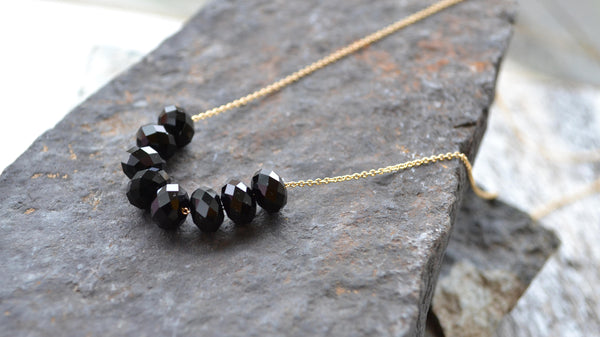 Matte Black Crystal Necklace - 14 K Gold Filled-Sela+Sage