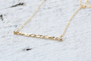 Hammered Gold Bar Necklace - 14K Gold Filled-Sela+Sage