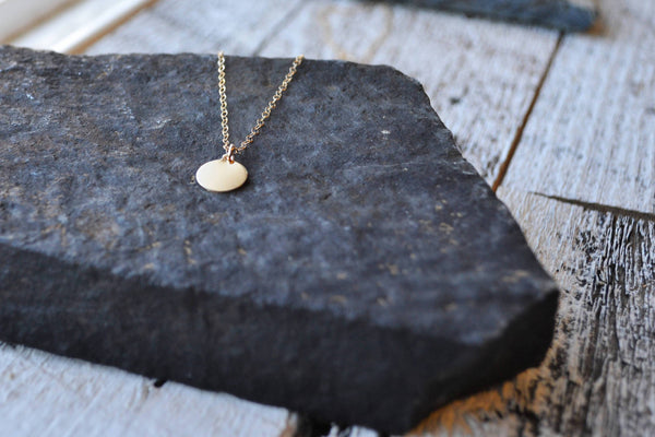 Gold Disc Pendant Necklace - Circle Necklace 14K Gold Filled-Sela+Sage