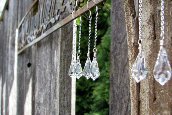 Teardrop Crystal Y Necklace - Sterling Silver-Sela+Sage