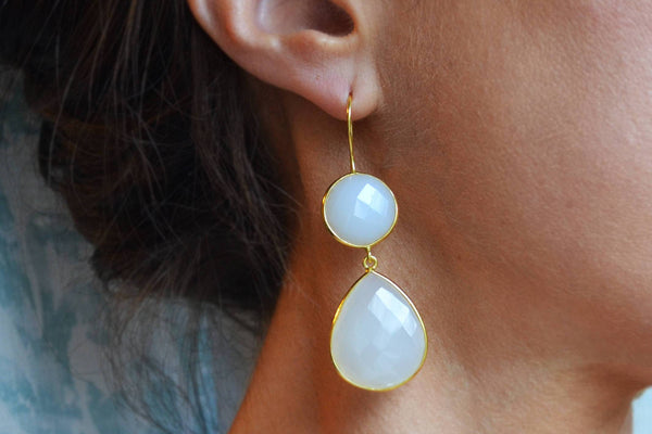 Translucent White Onyx Earrings - Gold Vermeil-Sela+Sage