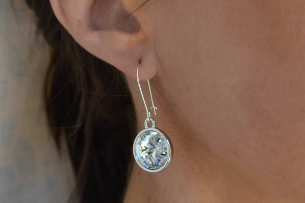 Rivoli Swarovski Crystal Dangle Earrings, Large CZ - Sterling Silver-Sela+Sage
