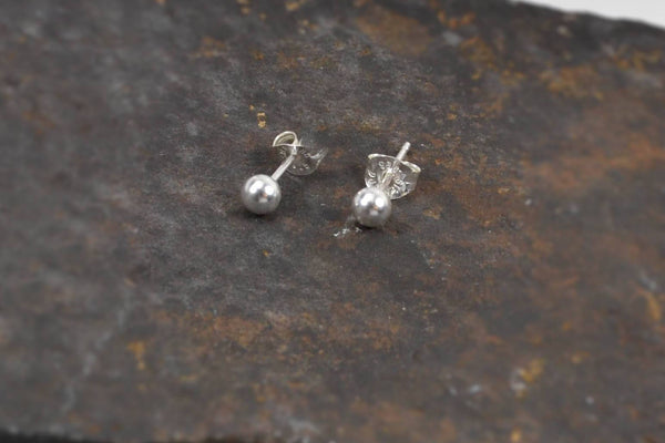 Second Hole, Unisex Ball Stud Earrings - Sterling Silver-Sela+Sage
