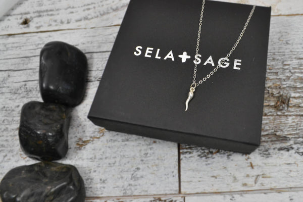 Tiny Italian Horn Necklace - Sterling Silver-Sela+Sage